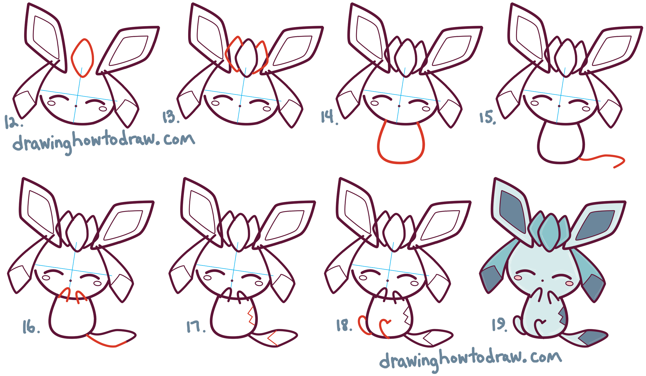 2500x1456 How To Draw Cute Kawaii Chibi Glaceon From Pokemon In Easy Step By