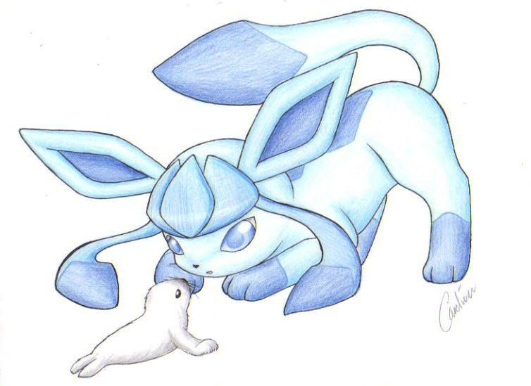 754x549 Glaceon With Seal Pokemon, Glaceon, Seal Cute