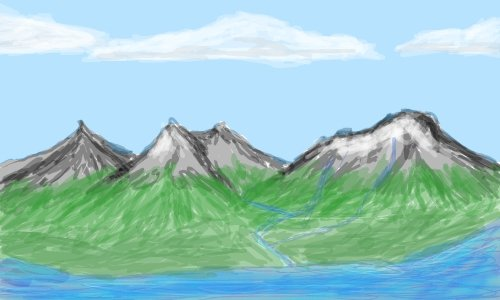500x300 Glacier Lake A Landscape Speedpaint Drawing By Brandodevil