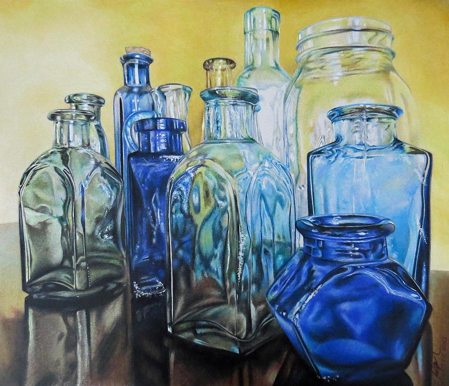 900x774 Glass Bottles Drawing By Tara Aguilar