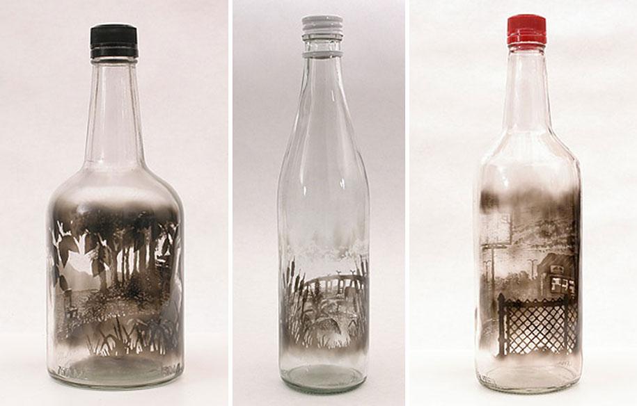 915x584 Incredible Drawings Inside Of Smoke Filled Bottles By Jim