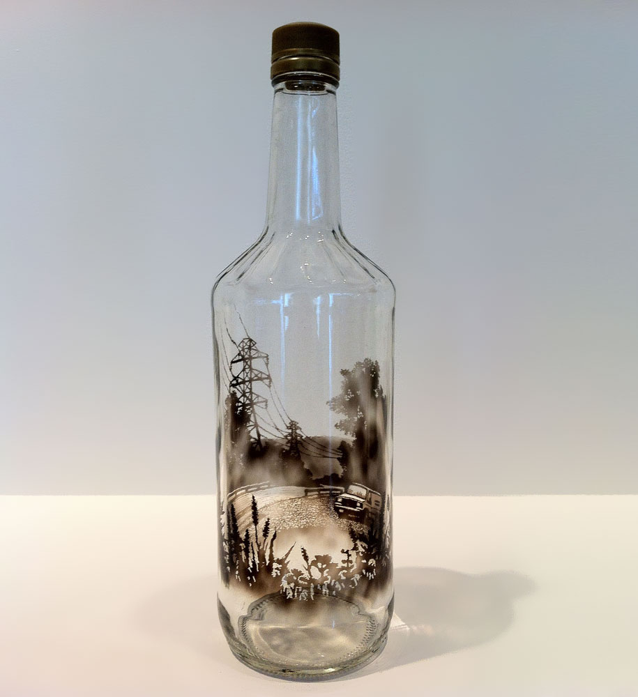 915x1000 Smoke Filled Glass Bottles Brushed To Create Beautiful Dark Drawings