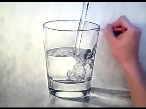 480x360 3d Looking Waterglass Drawing
