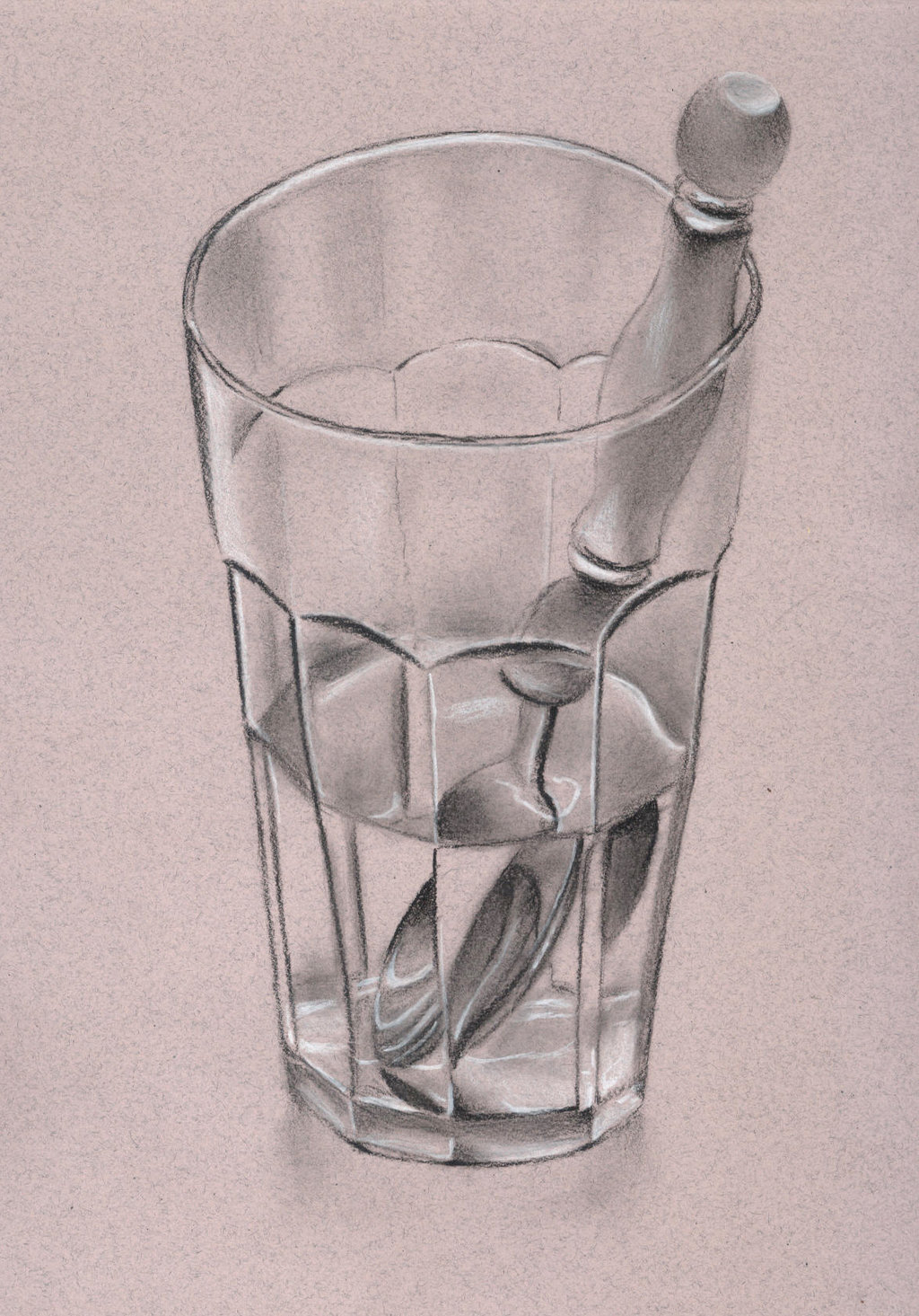 1024x1465 Still Life Glass Drawing Glass Cup And Spoon Still Lifesketchh22