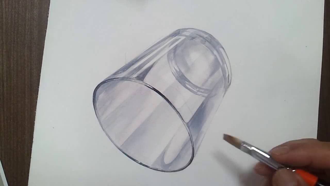 1280x720 Realistic Art Glass Cup Drawing