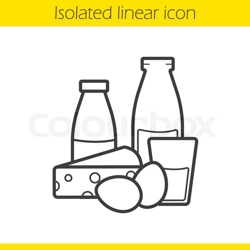 800x800 Dairy Products Linear Icon. Thin Line Illustration. Yogurt, Bottle
