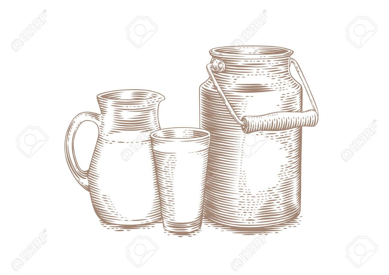 1300x919 Drawing Of Milk Can, Jug And Glass Of Milk On The White Royalty