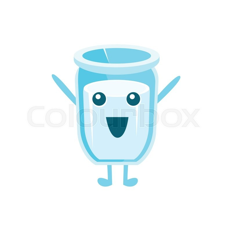 800x800 Glass Of Milk Character Flat Childish Simple Style Vector Drawing