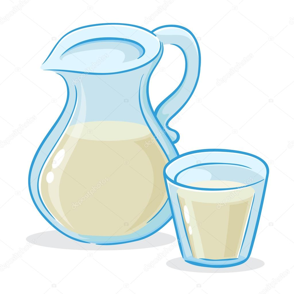 1024x1024 Vector Illustration Of Milk Jug And A Glass Of Milk Stock Vector