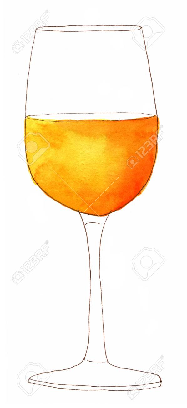 598x1300 A Glass Of White Wine On White Background, Freehand Ink