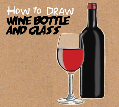 400x361 How To Draw A Bottle And Glasses Of Wine Drawing Tutorial