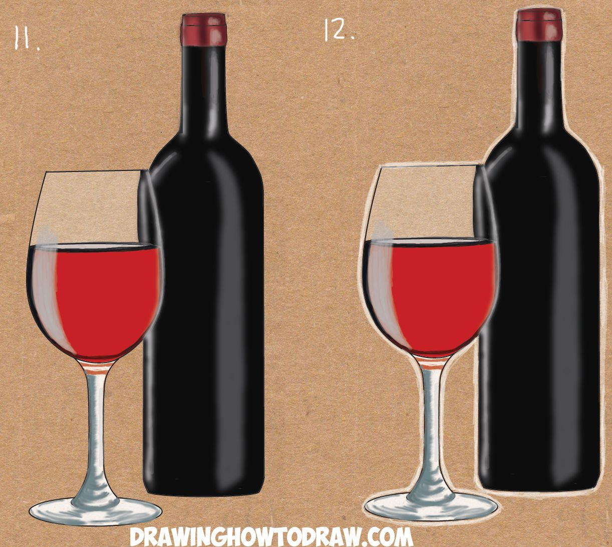 1222x1091 How To Draw A Bottle And Glasses Of Wine Drawing Tutorial Wine