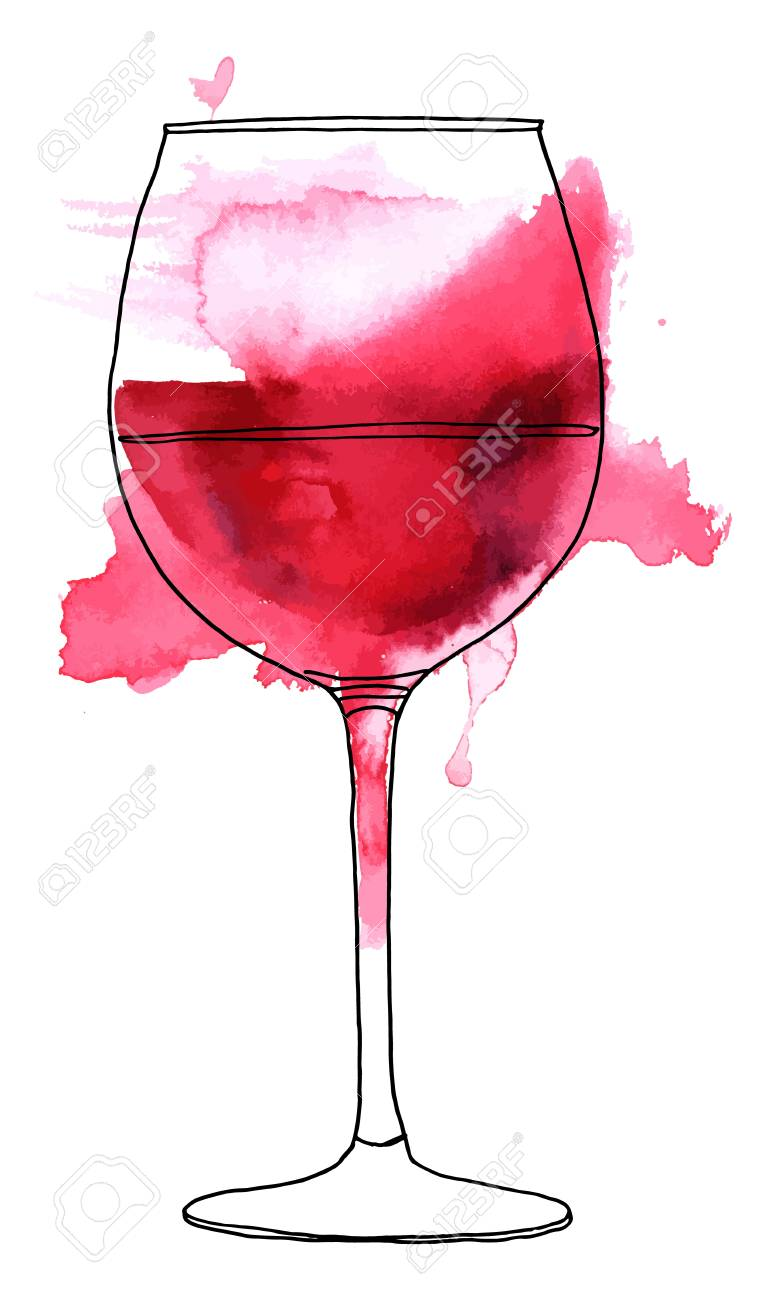 765x1300 Vector And Watercolor Drawing Of Glass Of Red Wine. Royalty Free