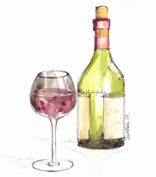 525x596 Drawing Glass, Illustration, Svitlana Martynjuk, Watercolor, Wine