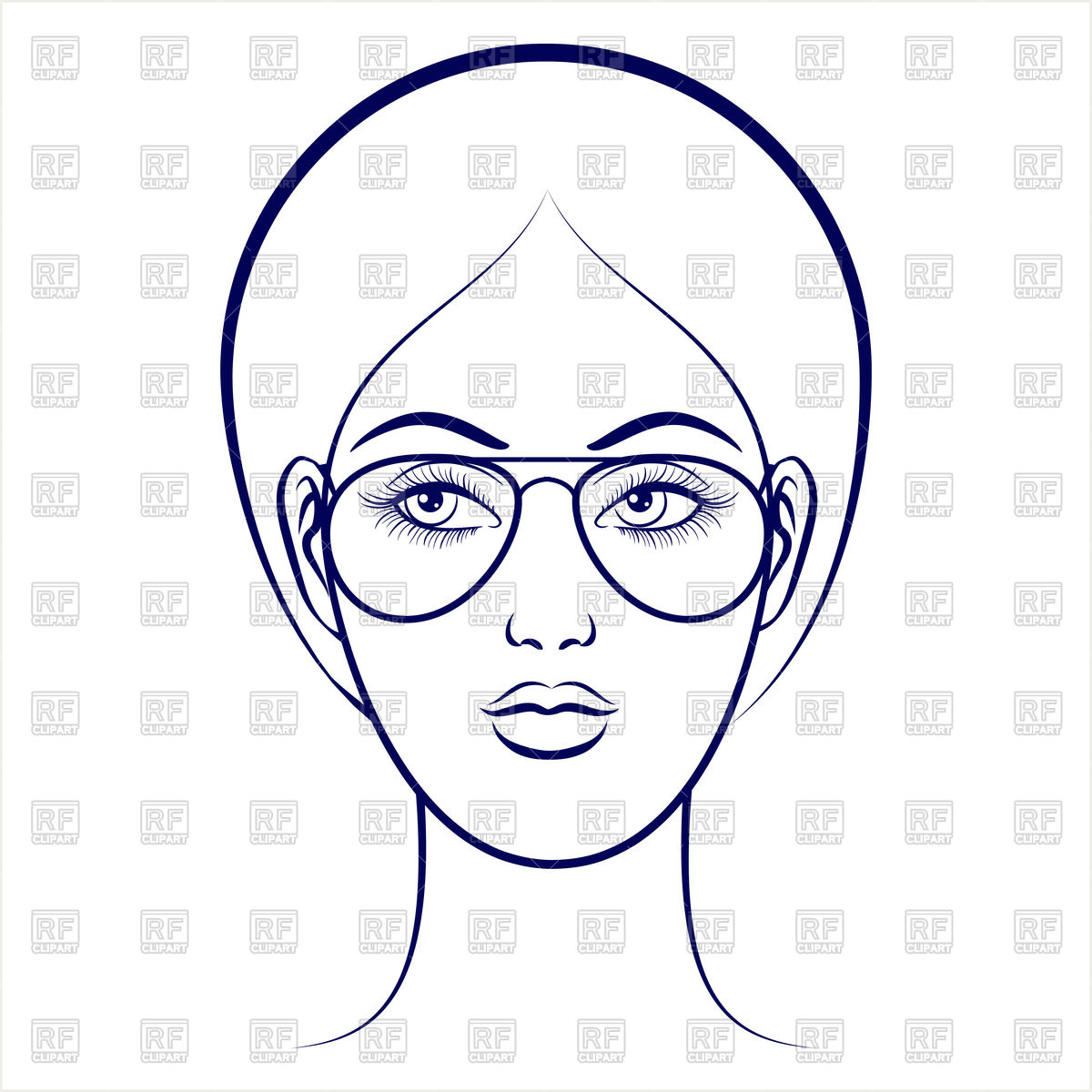 1200x1200 Balpoint Drawing Female Face With Glasses Royalty Free Vector Clip