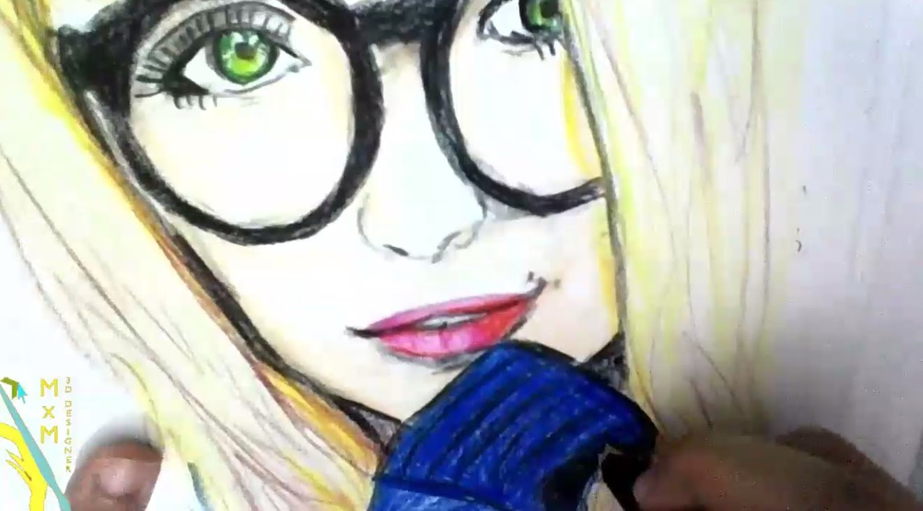 1319x730 Drawing Girl Face With Glasses Color Pencil