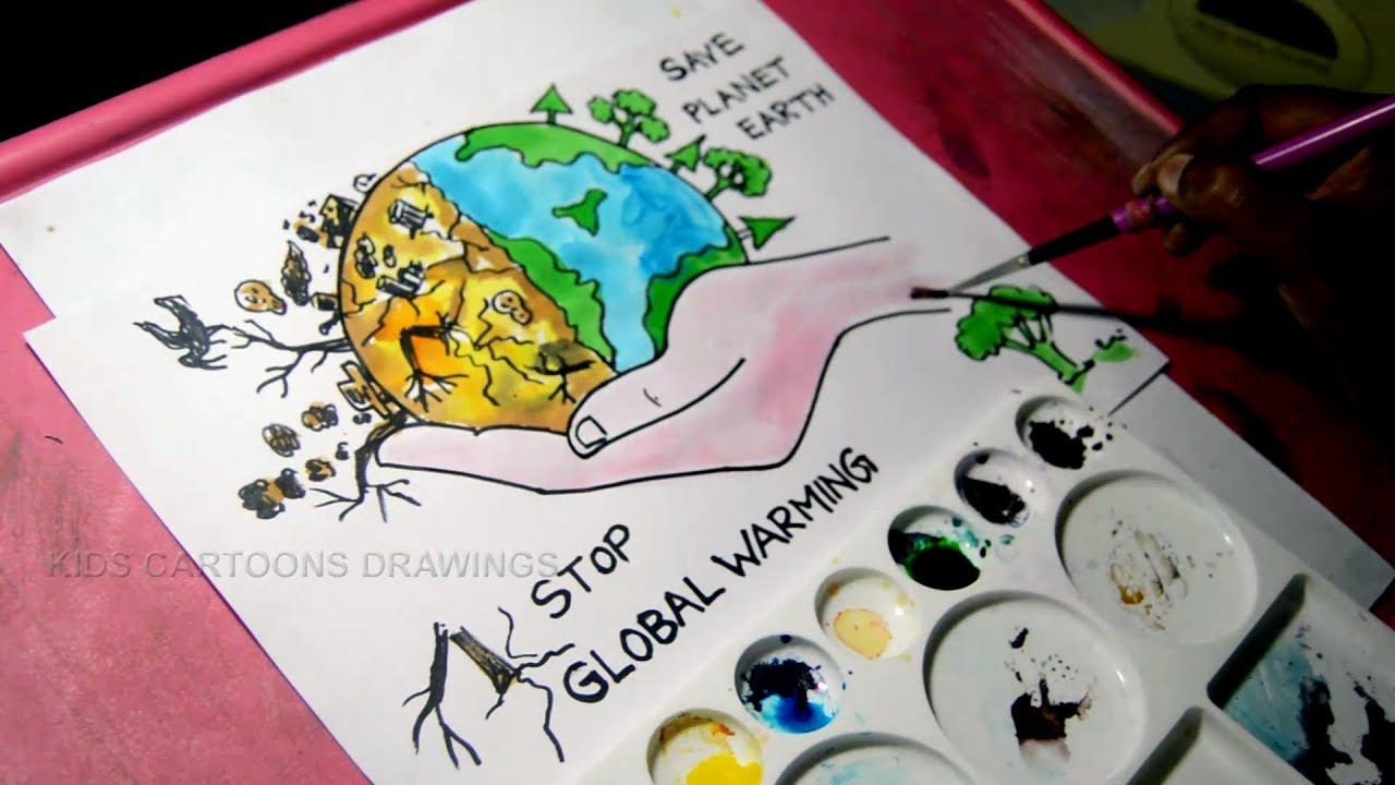 1280x720 How To Draw Stop Global Warming And Save Planet Earth Drawing