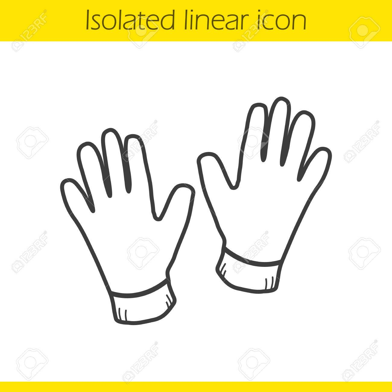 1300x1300 Gloves Linear Icon. Thin Line Illustration. Leather Gloves Contour