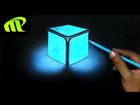 480x360 Drawing A Glowing Cube Trick Art