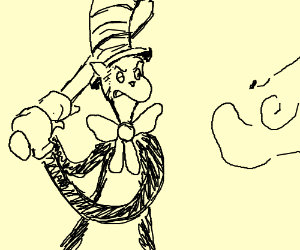 300x250 Cat In A Hat With A Bat Fighting A Gnat (Drawing By Frank Shively)