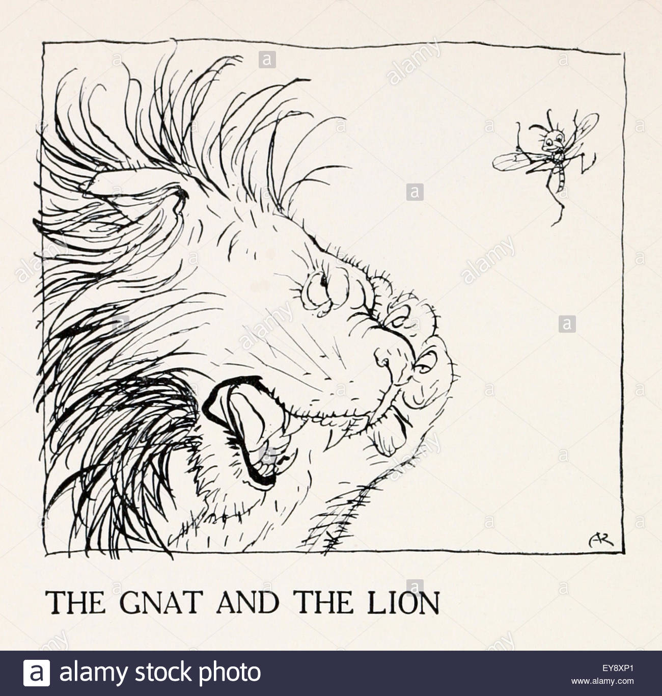 1300x1366 The Gnat And The Lion' Fable By Aesop (Circa 600bc). Illustration