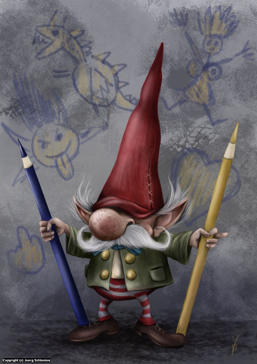 884x1250 The Drawing Gnome Commands To You Draw More!! By Joerg Schlonies