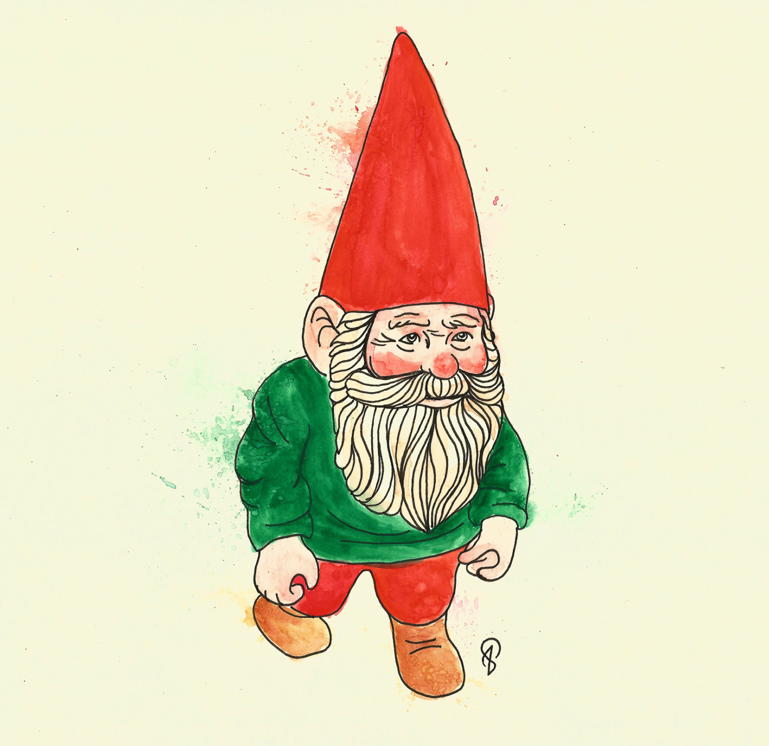 1500x1456 Travelling Gnome Original Drawing By Lucyisdrawing On Etsy