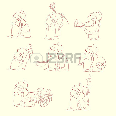 450x450 Vector Dwarfs, Gnomes Or Christmas Elfs Outline Drawing