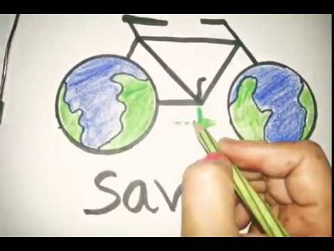 480x360 Drawiing On Go Green Save Fuel And Save Future Draw Step By Step