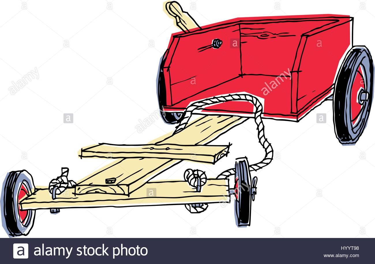 1300x913 Wooden Go Kart Drawing. Vector Illustration Stock Vector Art