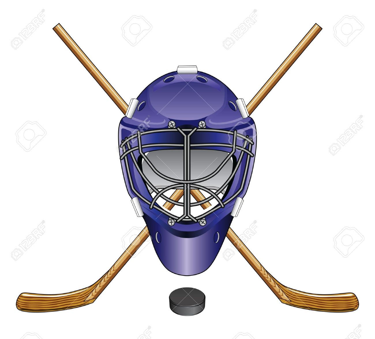 1300x1178 Ice Hockey Goalie Mask Sticks And Puck Is An Illustration