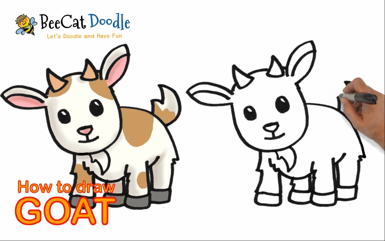 1281x801 How To Draw A Cartoon Goat Step By Step