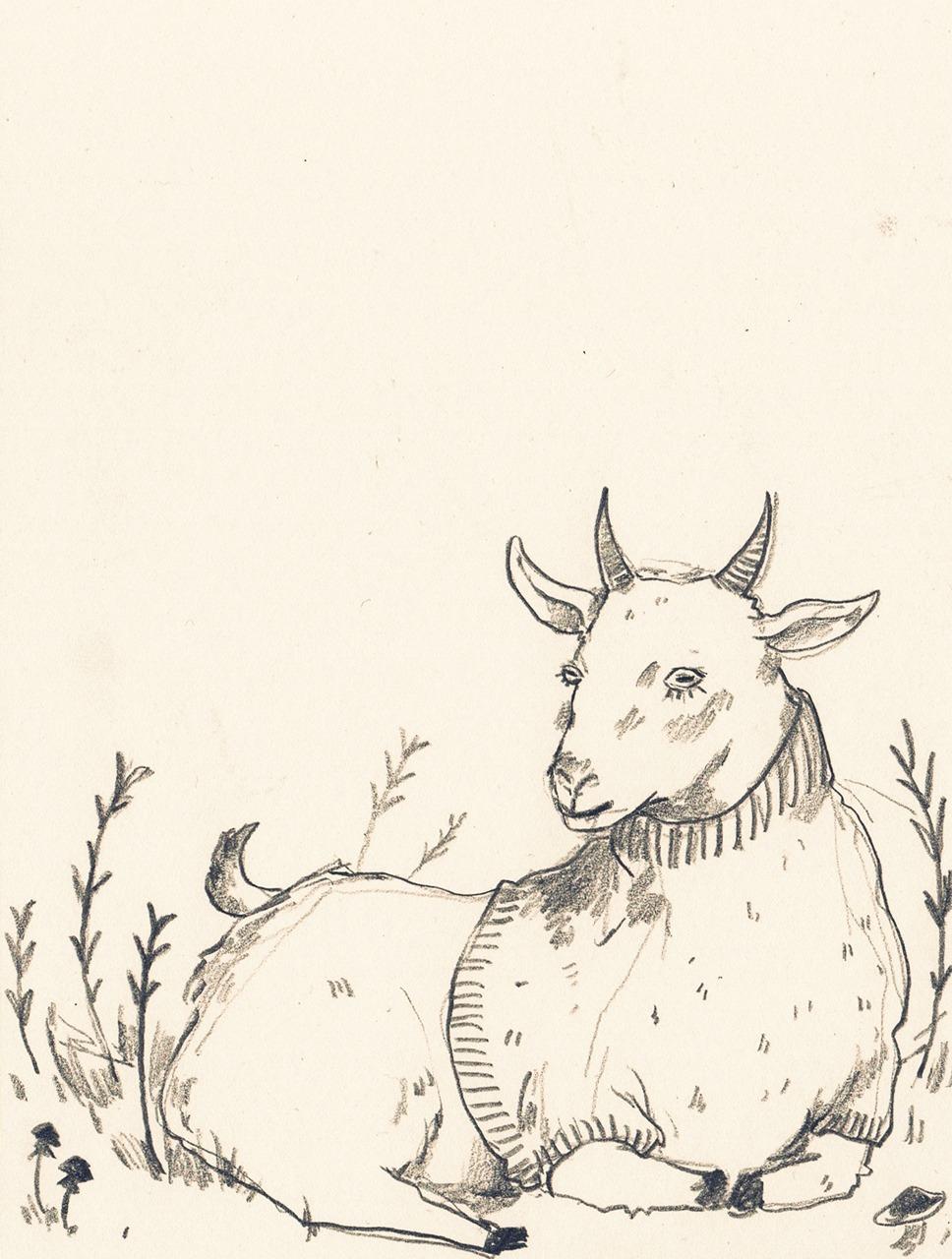 968x1280 Folk Goth A Goat Drawing I Did For @pisceanlesbian