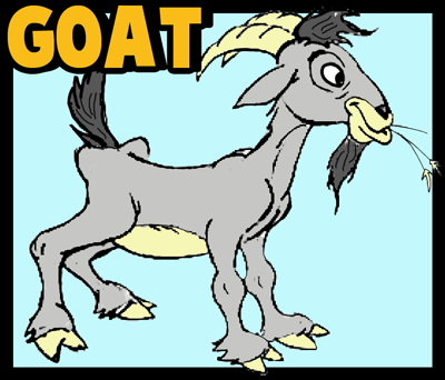 400x342 How To Draw Cartoon Billy Goats Step By Step Drawing Tutorial