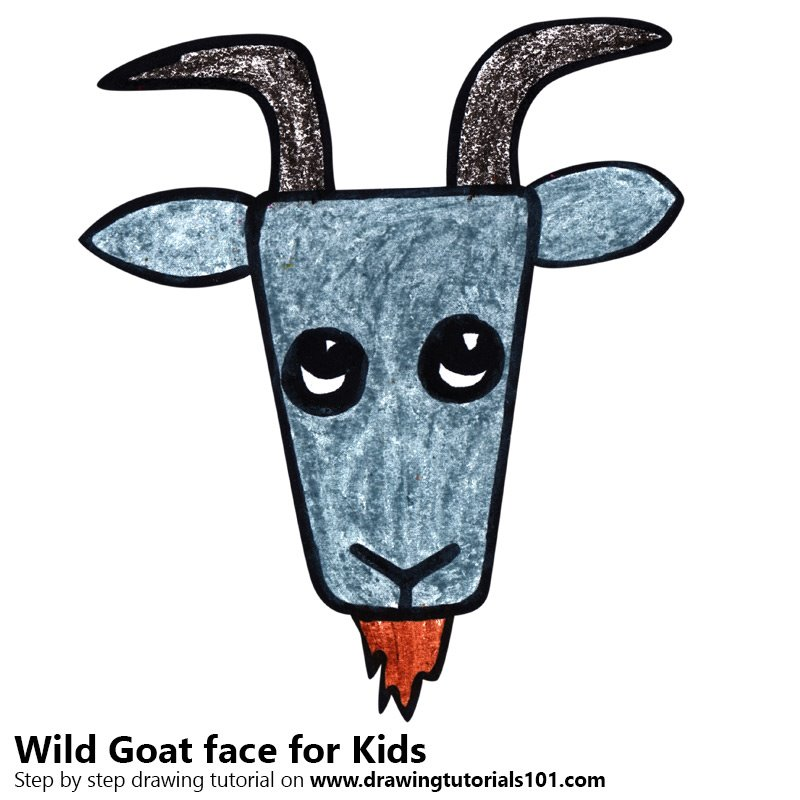 800x800 Learn How To Draw A Wild Goat Face For Kids (Animal Faces For Kids