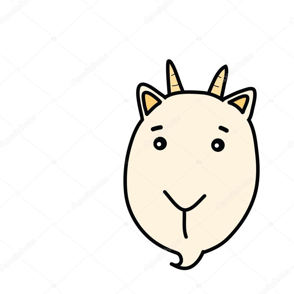 1024x1024 Goat Face Cartoon Drawing Stock Vector Taesmileland