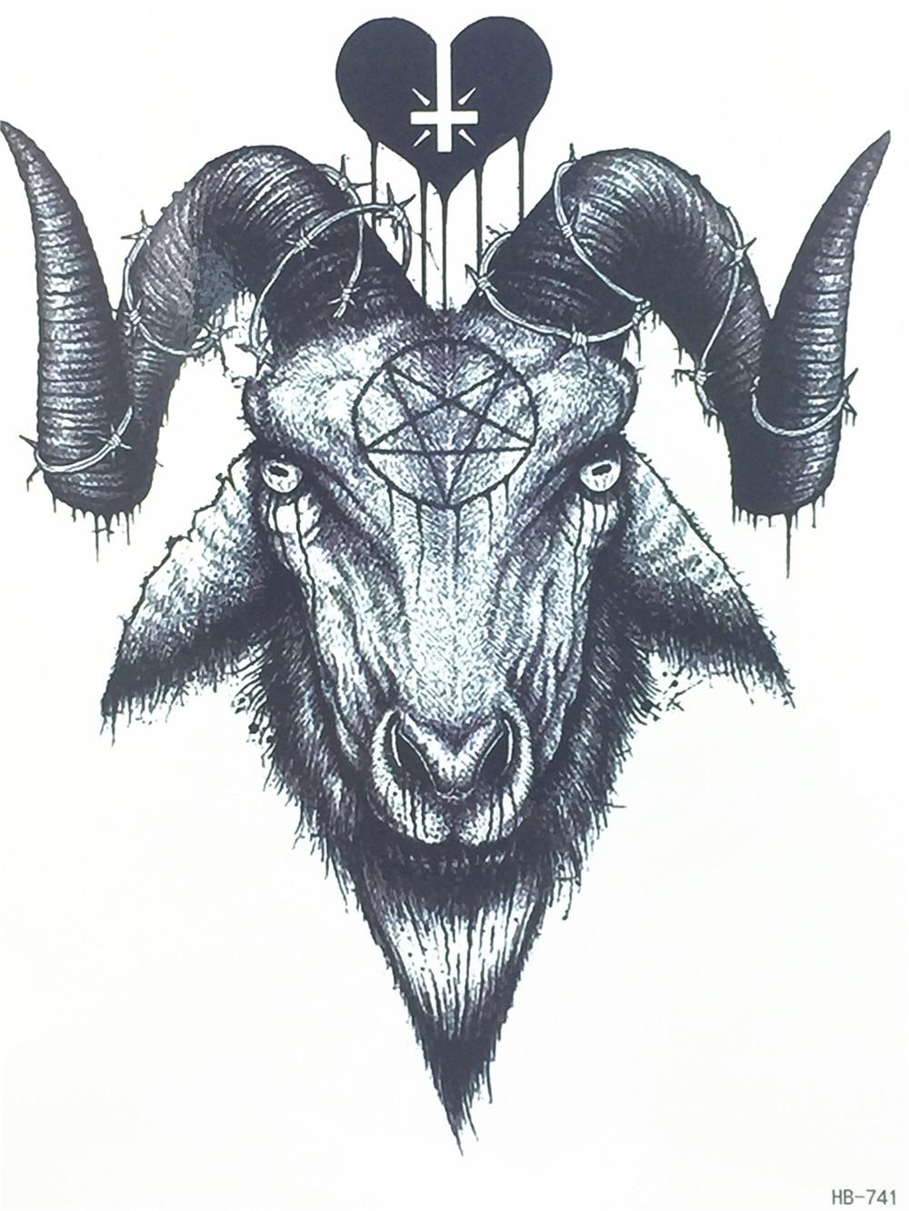 1000x1333 2017 New Fashion Sexy Flash Waterproof Tattoo Women Cool Evil Goat