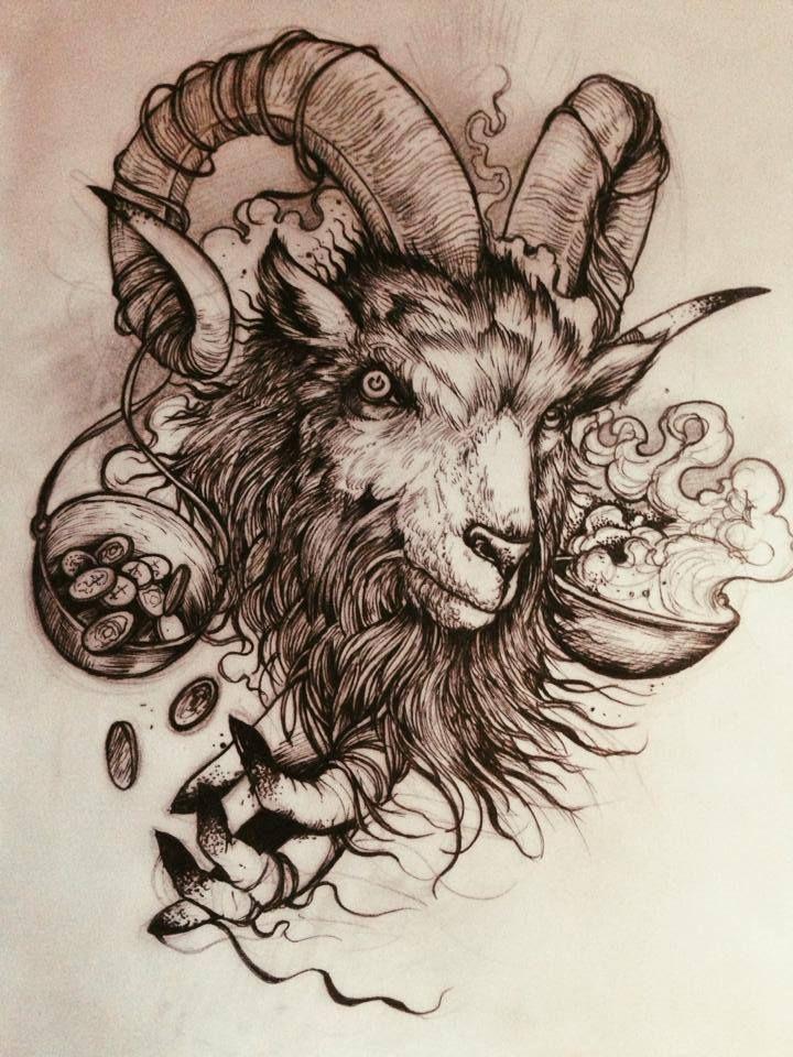 720x960 Awesome Black Ink Goat Head Tattoo Design