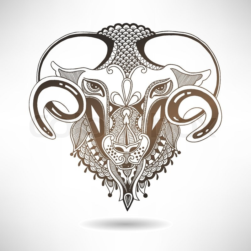 800x800 Head Goat Symbol Of 2015 Year, Decorative Drawing In Ethnic Style