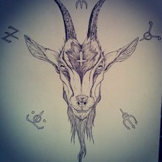 236x236 Satanic Goat Drawing Get Inked! Goats, Tattoo