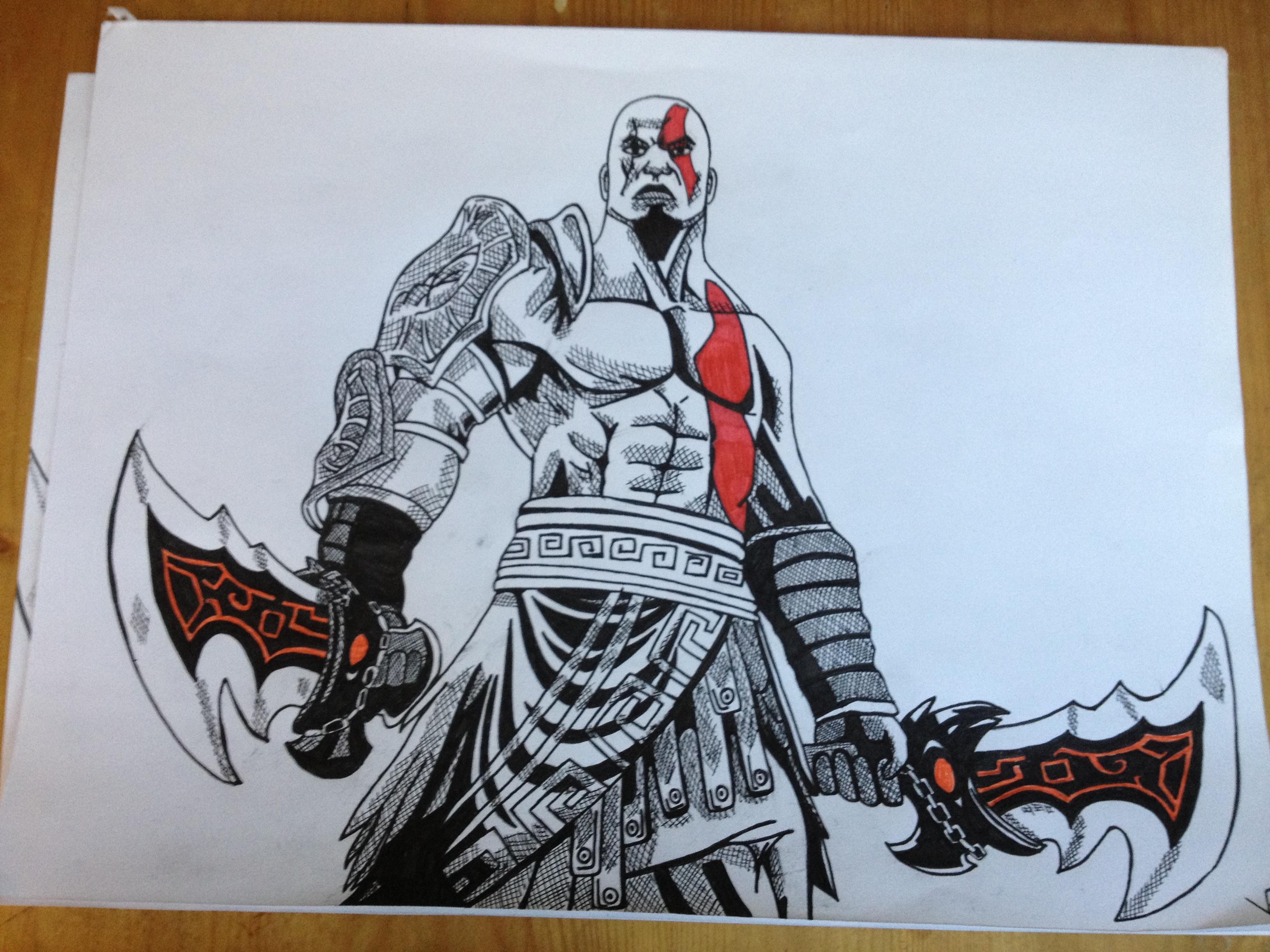 3264x2448 Kratos From God Of War Ballpoint Pen Drawing. Art