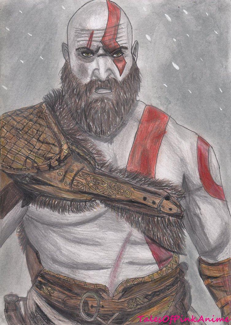 753x1060 Speed Drawing New God Of War 4 Kratos By Talesofpinkanime