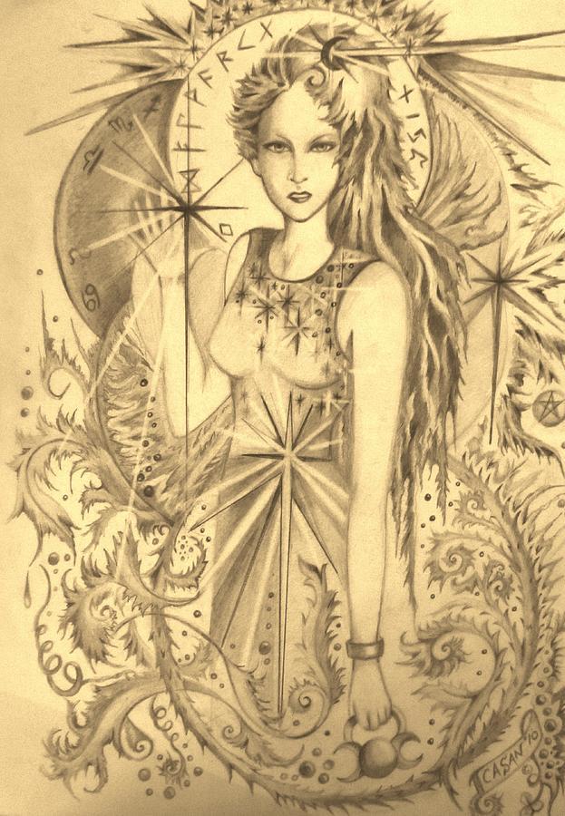 623x900 Celtic Goddess Drawing By Rachel Henderson