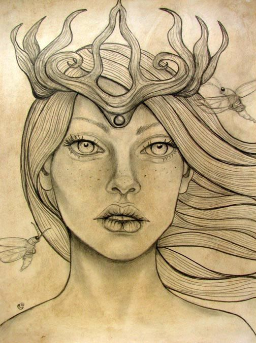 504x677 Original Graphite Drawing Forest Goddess Fireflies Graphite