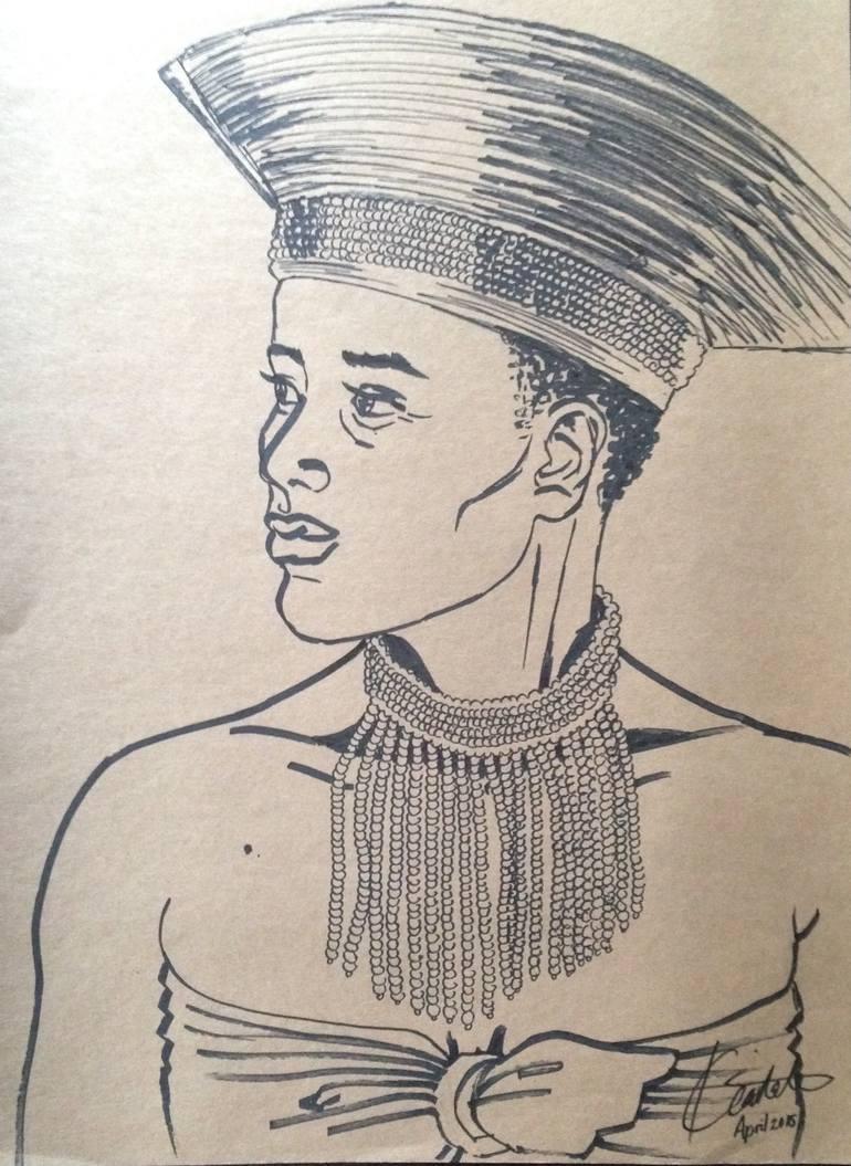 770x1055 Saatchi Art Zulu Goddess Drawing By Kgalalelo Gaitate