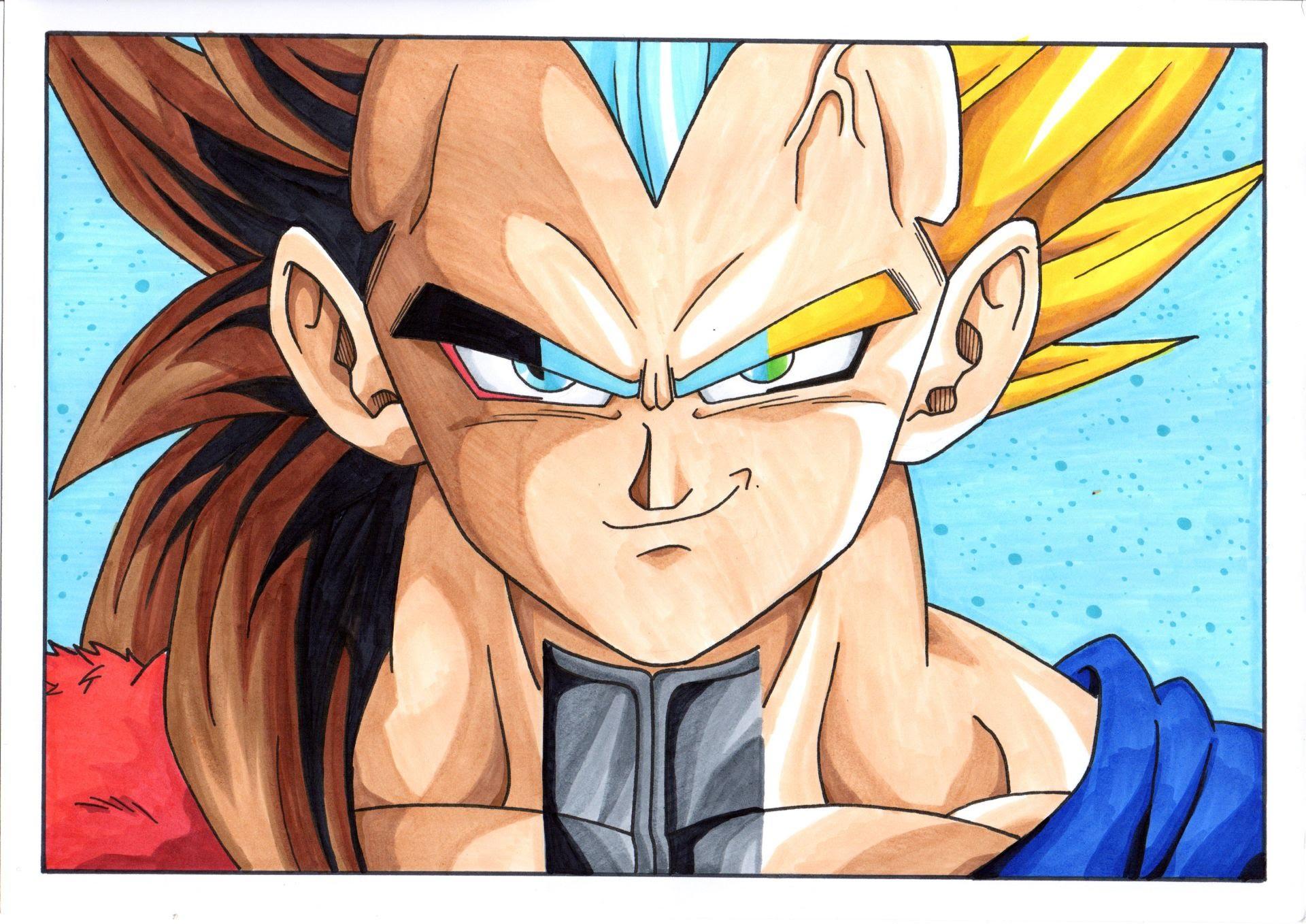 1920x1358 Dragon Ball Z Goku And Vegeta Fusion Super Saiyan God Line Drawing