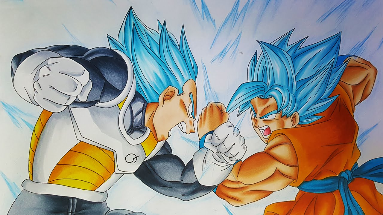 Goku and vegeta drawing at free for - Goku vs vegeta super saiyan 5 ...