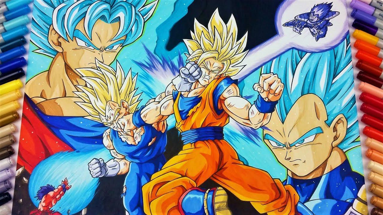 1280x720 Drawing Goku Vs Vegeta Epic Fight! Tolgart