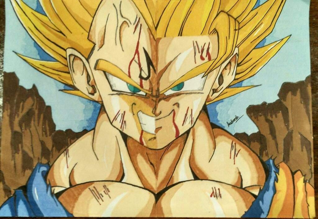 1024x705 Majin Vegeta Vs Goku Split Drawing Dragonballz Amino