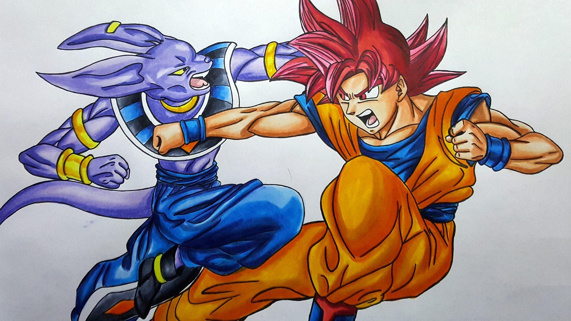 1920x1080 Drawing Beerus Vs Super Saiyan God Goku Dragonball